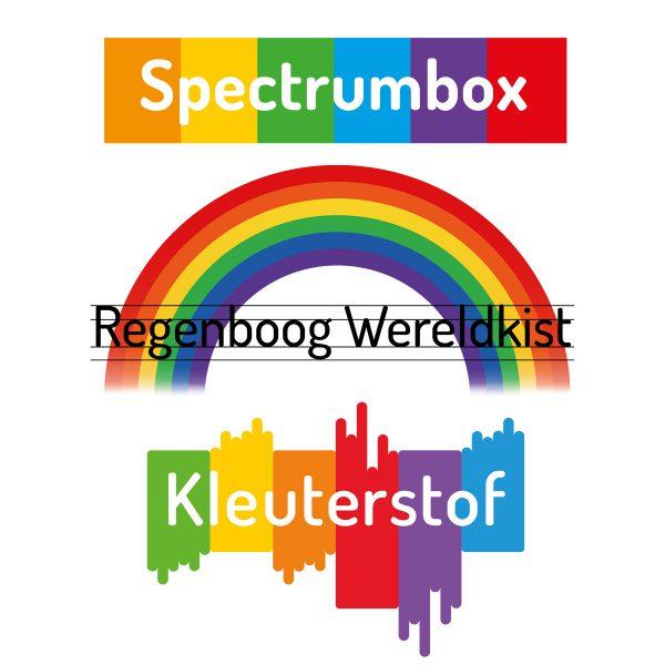 Spectrumbox, Regenboog Wereldkist en Kleuterstof logo's bij elkaar